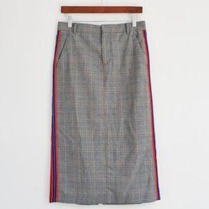 Zara plaid side stitch skirt